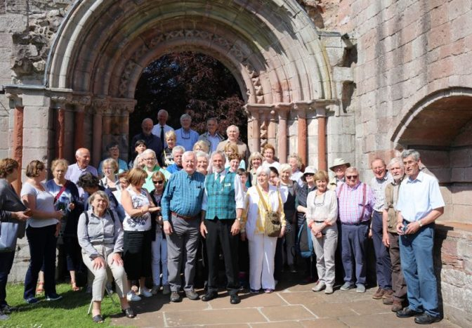 Group Photograph taken at the Processional Door at Dryburgh Abbey with the guide