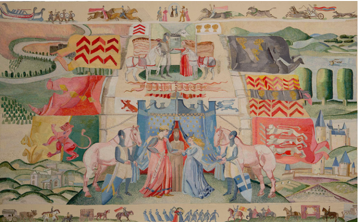 The Marriage of William and Isabel Panel from the Ros Tapestry on display at Ros Tapestry Exhibition Centre, The Quay, New Ross